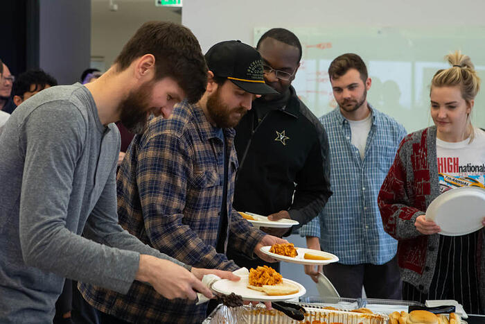 IQTalent employees having catered lunch on Employee Appreciation Day