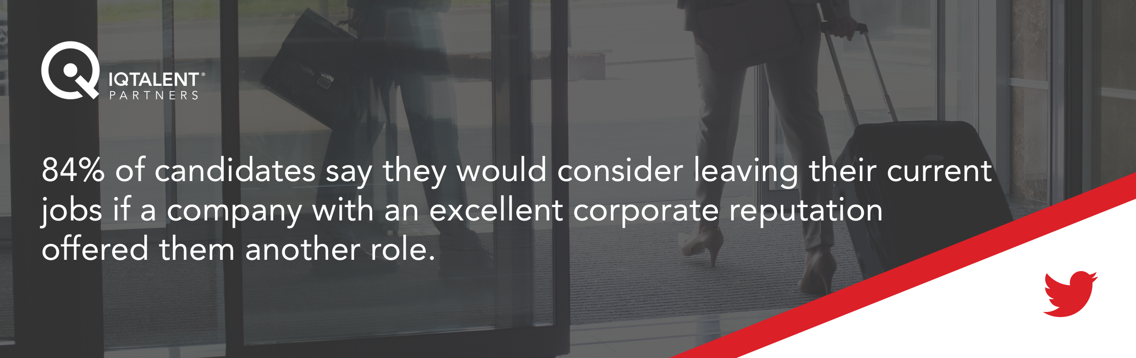 84% of candidates say they would consider leaving their current jobs if a company with an excellent corporate reputation offered them another role.